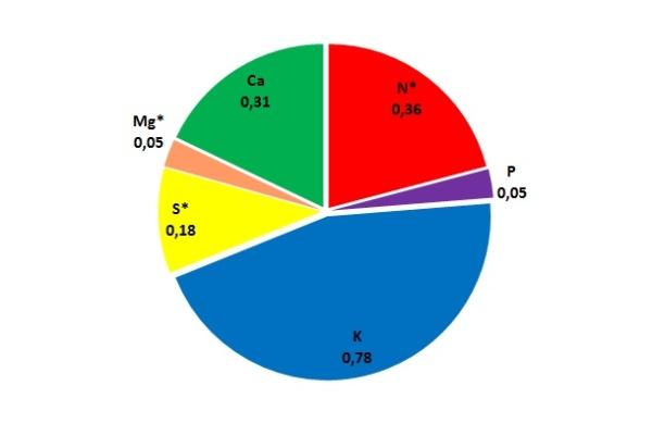 Graf 2: Průměrný obsah jednotlivých živin ve slámě ozimé pšenice (%) - * zastoupení živin ve slámě je ovlivněno obsahem živin na stanovišti