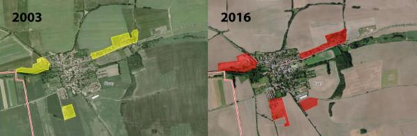 Obr. 1: Vliv změny intravilánu včase na tvar sousedních půdních bloků (Brant, 2018, mapový zdroj: Seznam.cz)