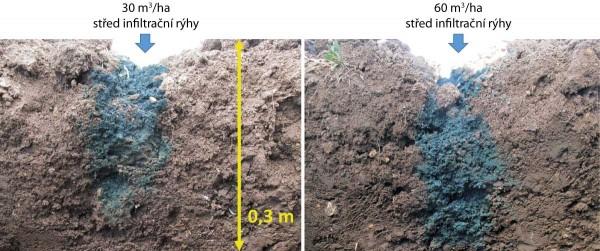 Obr. 2: Rozptyl kapaliny vinfiltrační rýze 30 minut poaplikaci při dávce 30 a60 m3/ha  (šířka dláta 50mm, rozteč rýh 0,45m)