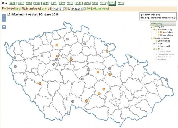 Mapa 1: Maximální výskyty dospělců krytonosce makovicového vroce 2018 na území České republiky (zdroj: http://eagri.cz/public/app/srs_pub/fytoportal)