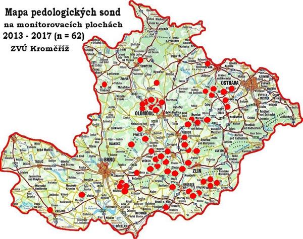 Mapa 62 pedologických sond na monitorovacích plochách 2013–2017