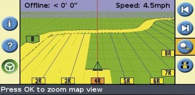 Mapa pojezdu stroje svyznačení zpracované plochy