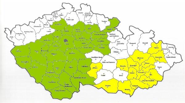 Mapa odběru vzorků rostlin na testy životaschopnosti - systém MSD Čechy, Morava, Slezsko